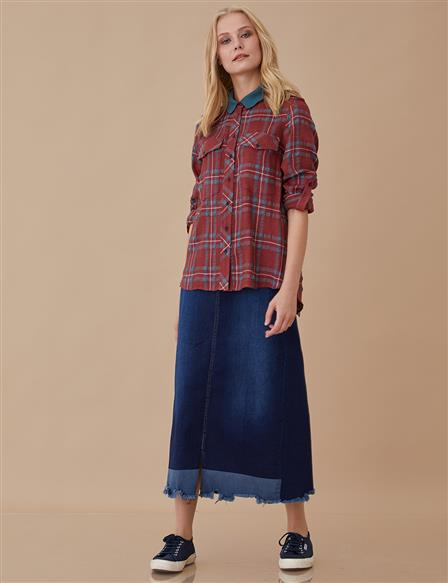 Plaid Blouse Burgundy A8 10084