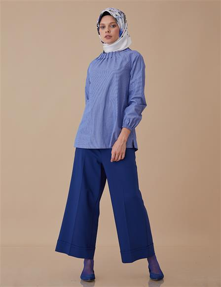 Striped Blouse With Zipper Detail Blue A8 10029