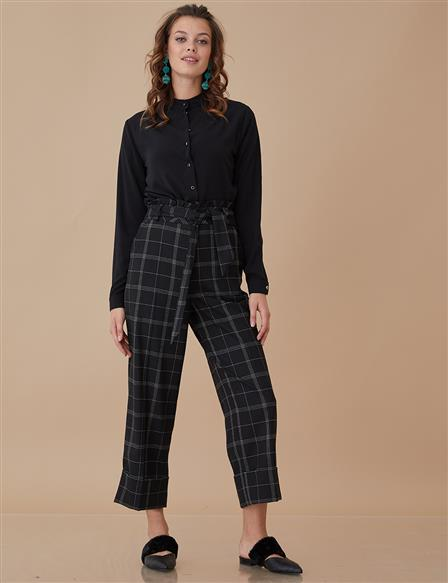 Wide Leg Pants Black A8 19081