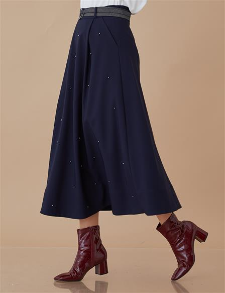 Pleated Skirt With Pearl Details Navy A8 12049