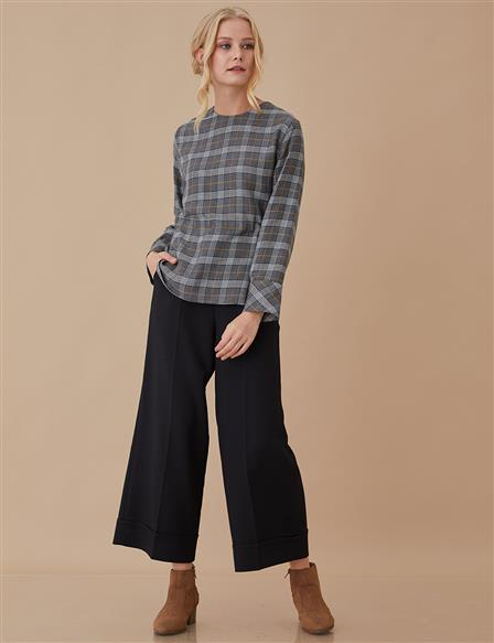 Plaid Casual Blouse Grey A8 10068