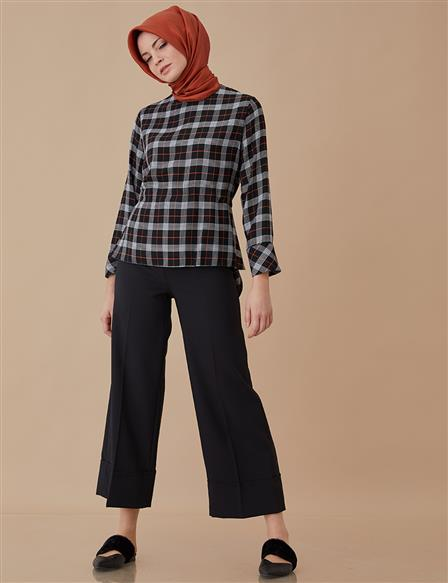 Casual Plaid Blouse Black A8 10068