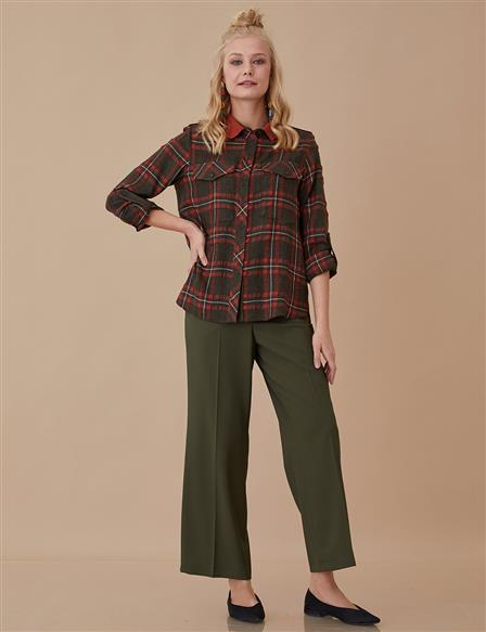 Plaid Blouse Khaki A8 10084