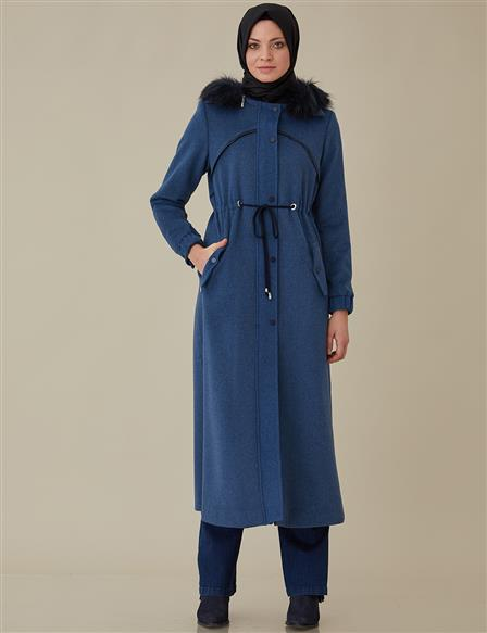 Coat With Hood Navy A8 18006