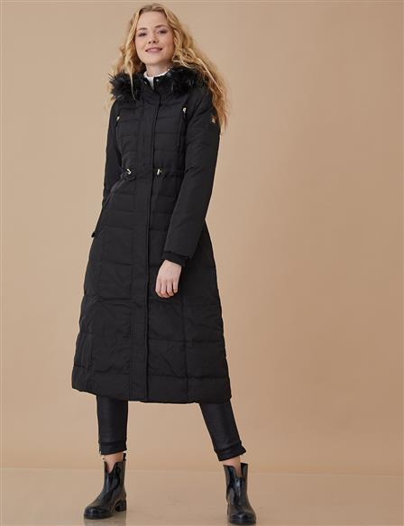 Goose-Quill Coat With Hood Black A8 27007