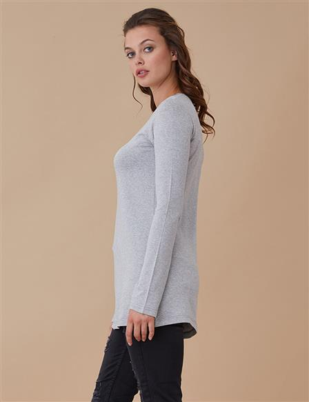 Combed Cotton Blouse Grey A8 10089