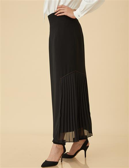 Pencil Skirt With Pleat B9-12012 Black