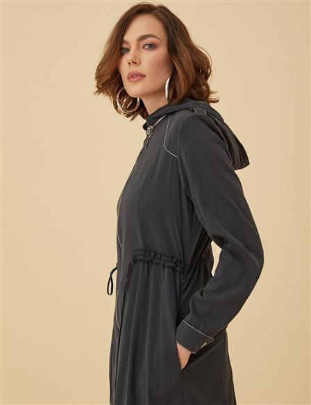 Ruched Trenchcoat With Hood B9-14029 Black