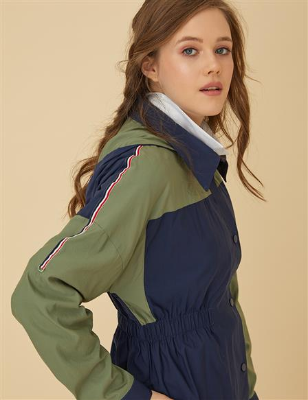 Color Detailed Trenchcoat B9-14026 Navy