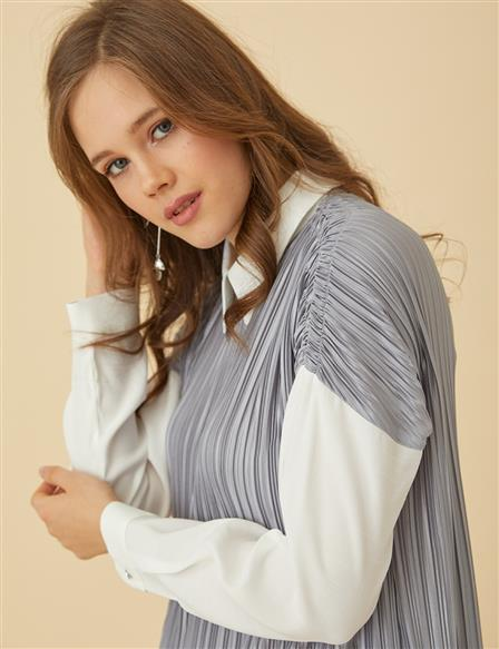 Pleated Suit B9 16002 Grey