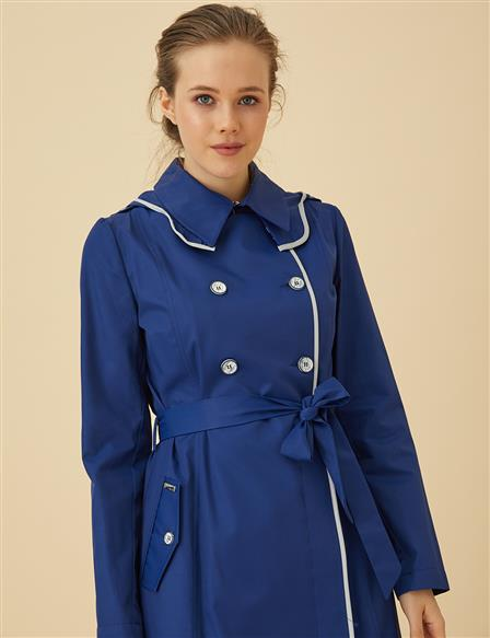 Trenchcoat With Hood B9-14038 Saxe