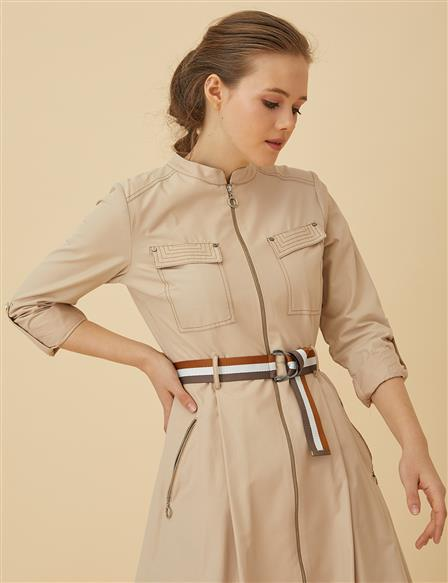 Tenchcoat With Colorful Belt B9-14034 Cream