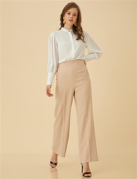 Basic Pants With Pocket SZ-19500 Beige