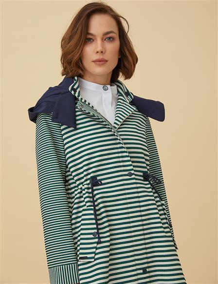 Striped Trenchcoat With Hood B9-24011 Green