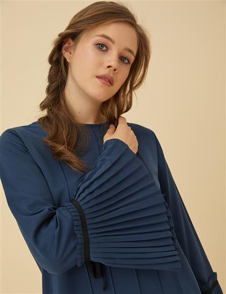 Tunic With Pleated Sleeve B9-21193 Navy