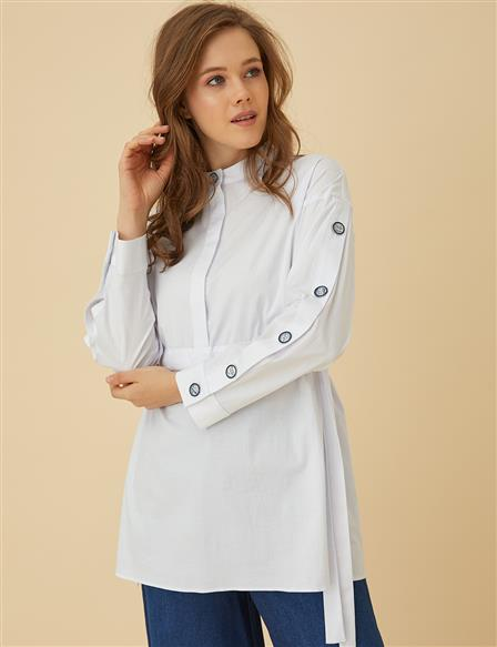 Lace Up Tunic Top B9-21274 White