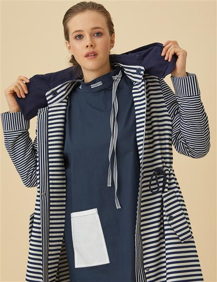 Striped Trenchcoat With Hood B9-24011 Navy