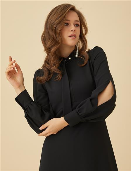 af97922261e2a Tükendi Kolları Yırtmaçlı, Formlu Elbise Siyah B9 23050