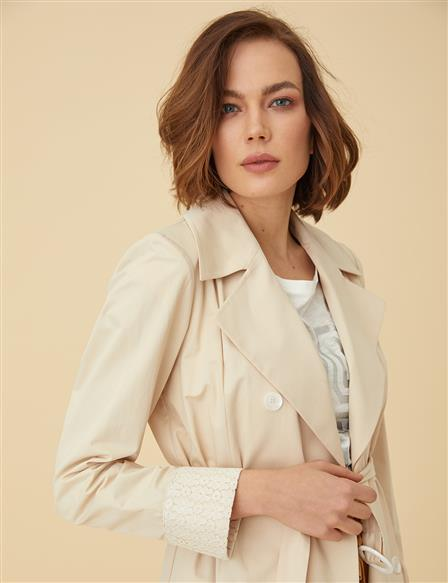 KYR Double-Breasted Trenchcoat B9-74006 Cream