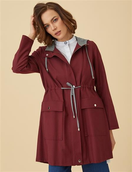 KYR Striped and Ruched Trenchcoat B9-84001 Burgundy