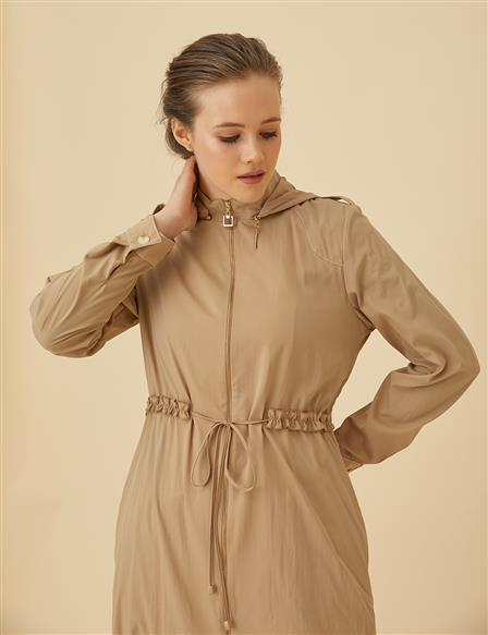 Ruched Trenchcoat With Hood B9-14029 Camel