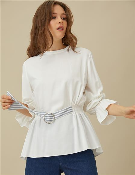KYR Blouse With Belt Detail B9-70001 White