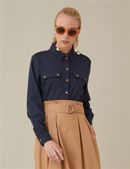 KYR Shoulder Strap Shirt Navy A8 71002
