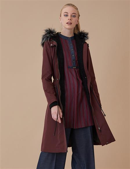 Coat With Furry Hood Burgundy A8 24003