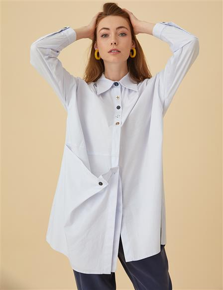 Tunic Shirt With Buttons B9-21175 White