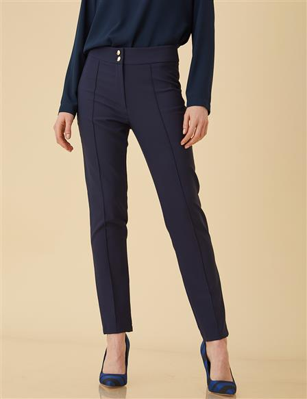 Pants With Corsage B9-19086 Navy