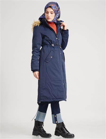 Goose-Quill Coat With Pocket Navy A7 24008