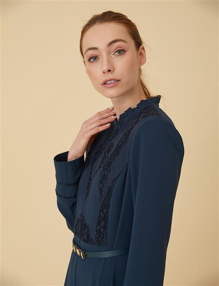 Lace Detailed Overcoat B9-15062 Navy
