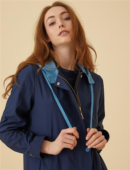 Colorful Oversize Trenchcoat B9-14048 Navy