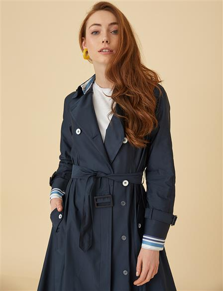 Trenchcoat With Button Detail B9-14027 Navy