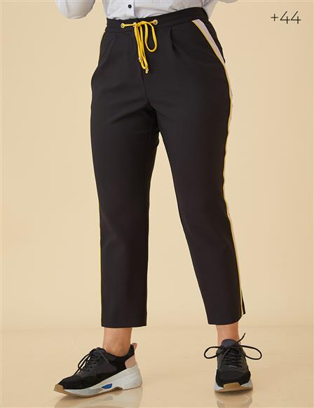 Colorful Pants With Strip B9-19073 Black