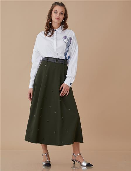 Pleated Skirt With Pearl Details Green A8 12049