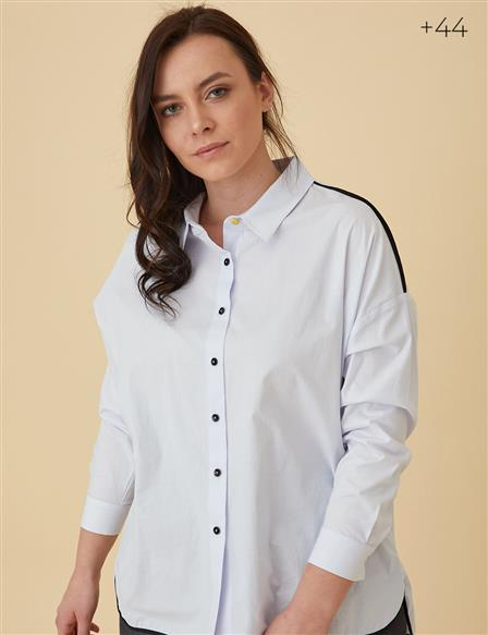 Detailed Oversize Shirt White B9 11018