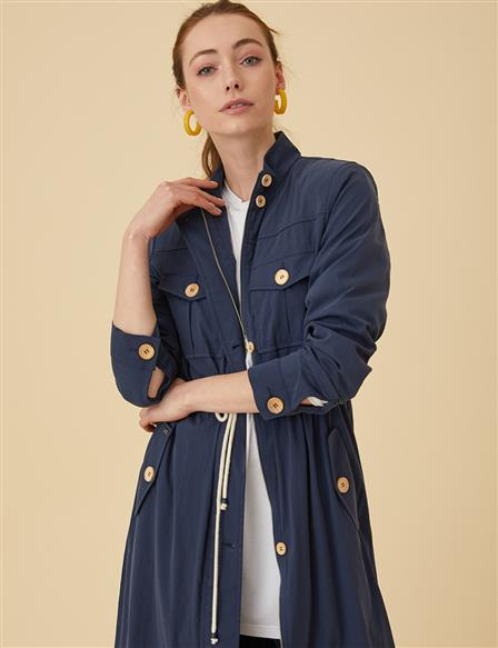 Button Detailed Trenchcoat B9-14025 Navy