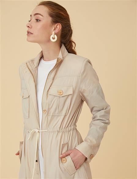 Button Detailed Trenchcoat B9-14025 Beige