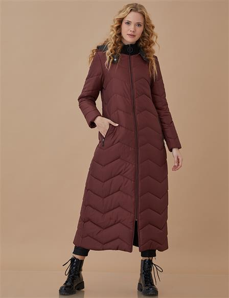 Black Detailed Coat Burgundy A8 27044