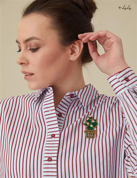 KYR Striped Shirt Burgundy BB B9 70013