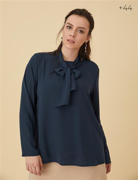 Oversize Blouse With Sash B9-10063 Navy