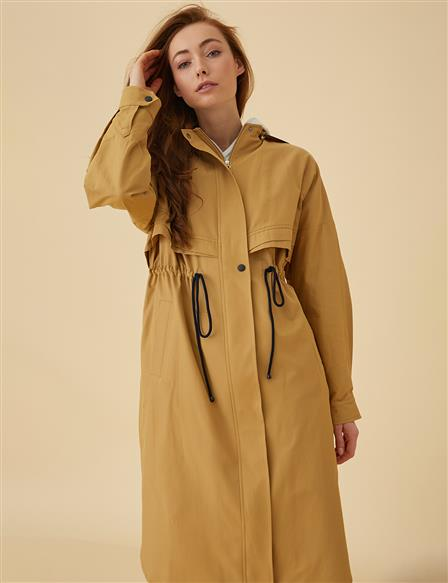 Ruched Trenchcoat B9-24012 Saffron