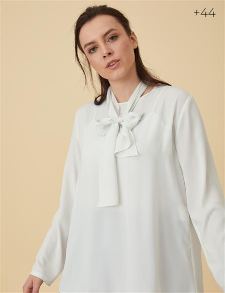 Oversize Blouse With Sash B9-10063 Ecru