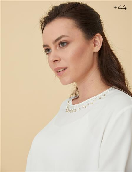 Blouse With Detailed Collar B9-10081 Ecru