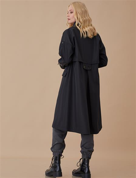 Coat With Pocket Black A8 24014