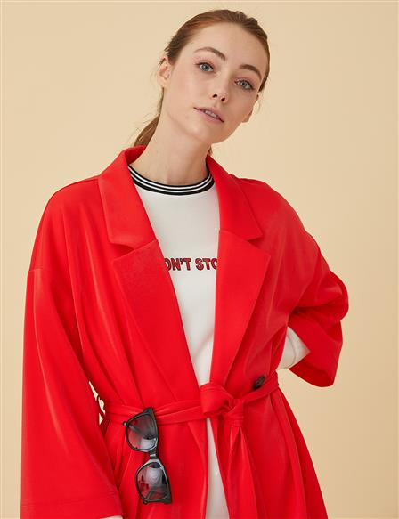 Oversize Top With Button B9-25092 Red