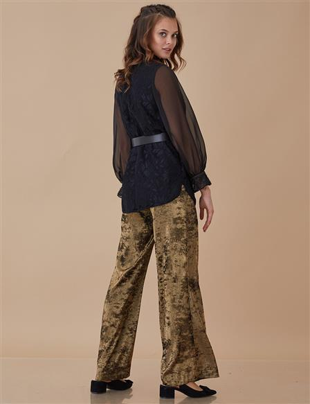Wide Leg Velvet Pants Gold A8 19102