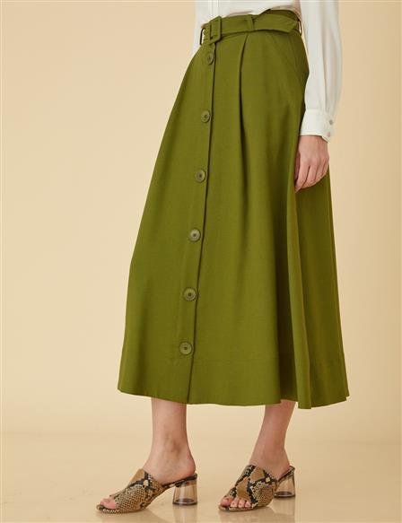 Basic Skirt With Button Detail B9-12061 Khaki