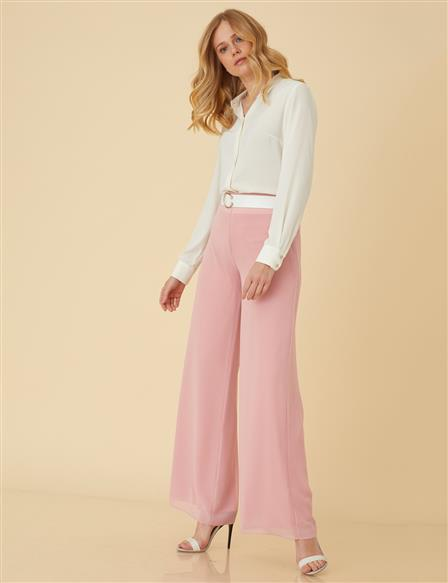 Chiffon Casual Pants B9-19130 Powder